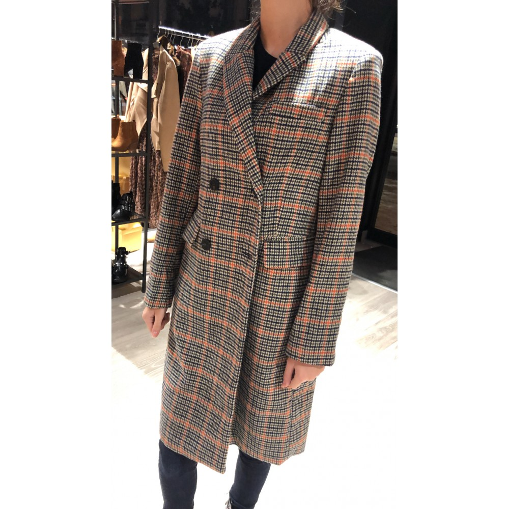 Manteau long à carreaux | boohoo